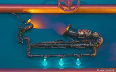 The Abyss, Italy, Interior design, bar, pub, Kraken, water, marine, blue, copper, steampunk, octopus, musical, instruments