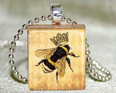 Scrabble Tile Jewelry  Bumble Bee Queen Bee by TwentySix7Handmade, $12.00
