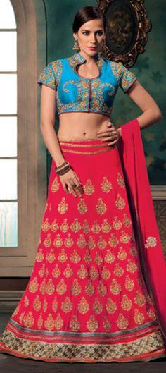 166716: Pink and Majenta color family Mehendi & Sangeet Lehenga .