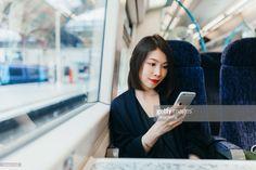 Stock Photo : Woman using mobile phone on train Used Mobile Phones, Photos Of Women, Train Station, Still Image, Photoshoot, Stock Photos, Lifestyle, Woman, Photography