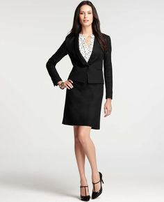 The cut of the jacket AND the lapel! <3 Ann Taylor - Ponte Paneled Textured Stretch Cotton Jacket