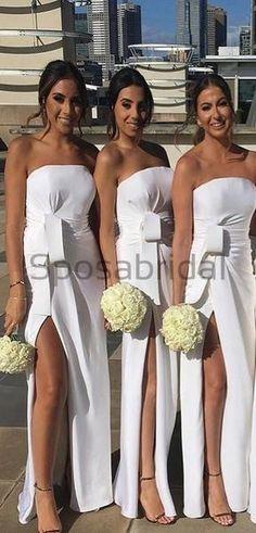 Modest Popular Elegant Split Side Strapless Long White Bridesmaid Dresses for Wedding Party - therezepte sites Modest Bridesmaid Dresses, Modest Dresses, Cheap Dresses, Bridesmaids, Prom Dresses, Burgundy Bridesmaid, Fall Dresses, Elegant Wedding Gowns, Wedding Dresses
