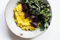 Turmeric Polenta with Beets & Greens from Claire Ragazzino, Vidya Living