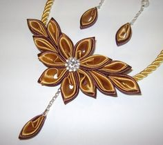 Handmade kanzashi satin fabric browngold set of by Decorrencia