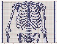 This is interesting . a life size filet skeleton! I was poking around the picasaweb albums website and I saw this by Cee Add in one of . Filet Crochet, Crochet Cross, Crochet Chart, Knit Crochet, Crochet Patterns, Cross Stitch Designs, Cross Stitch Patterns, Piskel Art, Kawaii Cross Stitch
