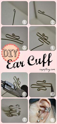 How To Make Beautiful Ear Cuff, lovely, http://top10-creative-diy.blogspot.com/2013/10/how-to-make-beautiful-ear-cuff.html