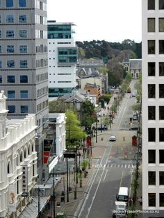 The Way We Were - Kia Kaha Christchurch  October 09, 2010 - Looking down Worcester St from the Cathedral balcony to the Canterbury Museum