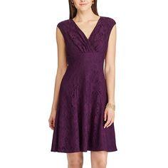 Women's Chaps Lace Fit & Flare Dress, Purple