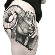By #FrankCarrilho #ram #horns #blackwork #animal #nature