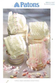 Patons 5267 four designs baby hat bonnet vintage by Ellisadine, £1.00