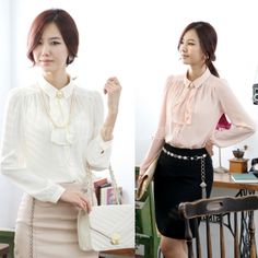 Elegant Women Long Sleeve Blouse Tops Shirts With Bow Tie Embellished 2Colors