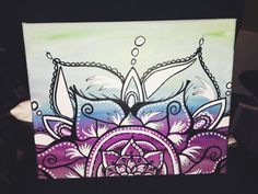 Cool colored Bohemian Henna canvas painting by BadashPaintings