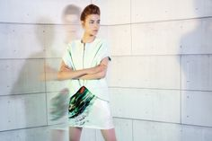 UNEINS Frida Silk Tankdress & Eva Leather Vest #uneins #ss14 #fashion #print #minimalist