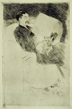 Mary Cassatt (American artist, 1844-1926) ~  Mr. Gardner Cassatt Reading the Paper (ca.1883) ~ Etching and drypoint ~ Print Collection ~ The New York Public Library