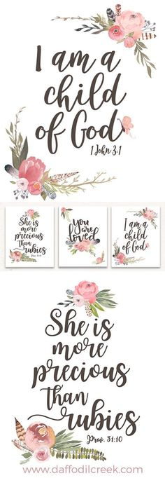 Love this beautiful bible verse set for a little girl's nursery! The watercolor is so sweet!