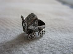 Antique Articulated Baby Carriage Charm Sterling Silver Signed J.M. Fisher Company Collectible Jewelry