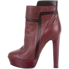 Pre-owned Chrissie Morris Ankle Boots ($325) ❤ liked on Polyvore featuring shoes, boots, ankle booties, burgundy, burgundy boots, leather boots, burgundy ankle boots, platform boots and leather booties
