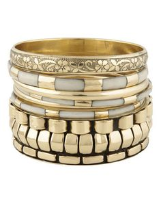 Hit the Bricks Ivory and Gold Bangle Set