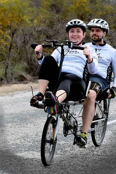 Tandem recumbent: the world's dorkiest bicycle. (But still somehow awesome.)