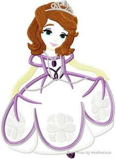 Princess Sofie the First Machine Applique Embroidery Design, multiple sizes including 4 inch