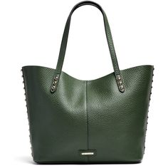 Rental Rebecca Minkoff Handbags Dark Forest Unlined Tote (265 HRK) ❤ liked on Polyvore featuring bags, handbags, tote bags, green, studded tote bag, green purse, studded purse, studded tote and green tote