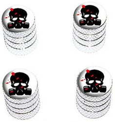 """(4 Count) Cool and Custom """"Diamond Etching Blood Spatterd Skull Wearing Gas Mask Top with Easy Grip Texture"""" Tire Wheel Rim Air Valve Stem Dust Cap Seal Made of Genuine Anodized Aluminum Metal {Lighted Subaru Silver and Black Colors - Hard Metal Internal Threads for Easy Application - Rust Proof - Fits For Most Cars, Trucks, SUV, RV, ATV, UTV, Motorcycle, Bicycles} mySimple Products http://www.amazon.com/dp/B00YYY4AXQ/ref=cm_sw_r_pi_dp_HVCEwb0N40T6F"""