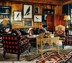 "Ralph Lauren Home Archives, ""Indian Cove Lodge"" Living Room, Fall 2009 ""Inspired by the beauty of the Great Adirondack Camps, this collection captures an eclectic spirit, layering a mix of the rustic and redined with chic accents of gilded luxury. Montana, Mont Dore, Lodge Look, Ralph Lauren Style, Ralph Lauren House, Boho Home, Up House, River House, Post And Beam"