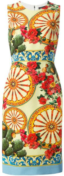 Dolce & Gabbana Orange Foulard Print Dress