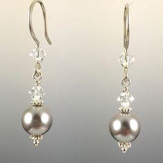 Light Grey Swarovski Crystal Pearls & Swarovski Crystal Simple Drop Earrings - 8mm