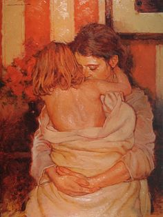 """Safe and Warm"" - Joseph Lorusso (b.1966), oil on panel {contemporary figurative #expressionist artist female mother hugging redhead child woman orange painting} josephlorussofineart.com"