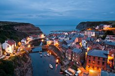 "The ""blue hour"" in Staithes, Yorkshire, England"