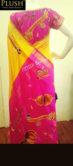 We all Love the latest Intrument Sarees which are very much available in  the market.. But Y don't we create our Own?? HERE IT IS.. HAND Embroidery ( Maggam work) done on a Plain Soft Silk Uppada Saree With Lot of Intruments all around.. Exclusively done at PLUSH Boutique and Beauty Lounge..  #maggamworkonsaree #Instrumentsaree #Silksaree #Softsilksaree #Uppadasaree #Handwork #mangoyellow #Veenablouse #PLUSHBOUTIQUEANDBEAUTYLOUNGE   For enquires ping us in 9543676444..