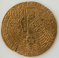 Medieval Art — Coin with Rose Noble and Edward IV, Medieval...