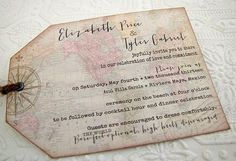 Vintage World Map Wedding Invitation  Hinged Shipping Tags. $5.00, via Etsy.    Wording and map ideas