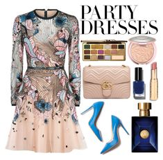 """#PolyPresents: Party Dresses"" by itsjana ❤ liked on Polyvore featuring M. Gemi, Elie Saab, Gucci, Bobbi Brown Cosmetics, Versace, Too Faced Cosmetics, contestentry and polyPresents"