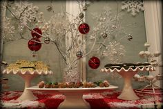 Such a cute idea for Christmas!! Spray paint a branch white and hang ornaments from it!