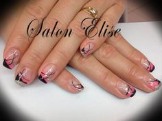 ongle en gel noir rose et paillette