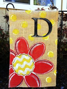 Burlap+Garden+Flag+Red+Flower+with+Chevron+and+by+ModernRusticGirl,+$20.00
