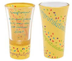 Congratulations on your accomplishment! There's no better way to celebrate than with the Lolita Congratulations Shooter glass from the Lolita Party Shots collection.    • 2 oz. hand painted shooter glass  • Shot recipe on side of glass  • Every Lolita glass comes distinctively packaged in a signature gift box  • Lolita recommends that her Party Shots glasses be hand washed  $12