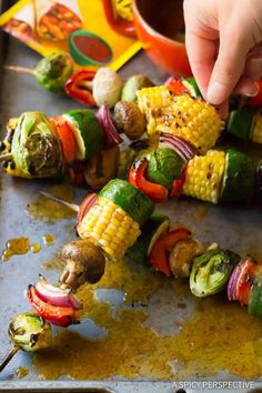 "Grilled Fajita Vegetable Skewers - A healthy vegetarian skewer recipe loaded with fresh summer veggies and ""fajita butter."" A fabulous side dish for picnics! Grilled Vegetable Kabobs, Veggie Skewers, Grilled Vegetables, Bbq Skewers, Steak Kabobs, Pellet Grill Recipes, Grilling Recipes, Cooking Recipes, Healthy Recipes"