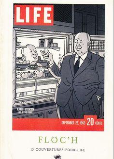 #Hitchcock out of the fridge (1953) FLOC´H.  Livret Couverture #LIFE Identifiant : 17427.   Type : Objet 2D. Catégorie: Carte. Auteur: #Floch. Editeur : Carton editions. Dimensions : H : 150 mm / L : 105 mm.      Aspect : Polychrome. Date sortie : 09/1985. Matière(s) : Papier. Cote : non coté. Autres info : Certificat Numéroté. Signé 15 couvertures pour LIFE. Préface de Jean-Luc Fromental.