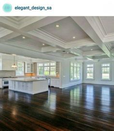 Kitchen renovation ideas. Trey ceilings. Dark Hardwood flooring.