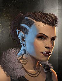 shadowrun; female; ork; tattoo