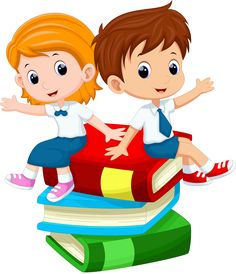 boy and girl sitting on book illustration, Student Cartoon , kids transparent background PNG clipart