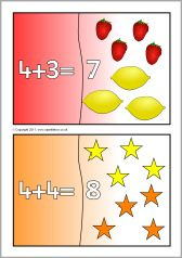 Addition mini jigsaws (totals to - SparkleBox Addition Activities, Subtraction Activities, Playdough Activities, Math Games, Maths, Number Bonds To 10, Partner Cards, Window Cards, 1st Grade Math