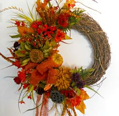 Make walking into your home inviting with this Beautiful Fall Door Wreath.