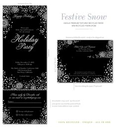 Send and Sealed gala invitations.  Festive Snow, gala invitations. Illustrated with our premium 100% recycled textured paper.
