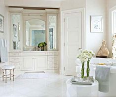 I love that whole vanity and mirror area...dream glamour bathroom right there