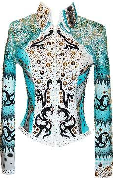 Black, Turquoise and Gold Jacket - horse show - western pleasure - by Lindsey James
