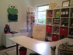 Nothing better than a big L-shaped desk for a craft room. This is what I'm thinking for a corner in the bonus room. Home Office Space, Office Spaces, L Shaped Desk, Built In Cabinets, Diy Desk, Craft Storage, Desks, Guest Room, Diy Furniture